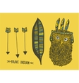 Set of indian things with cute hand drawn owl vector image