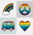 set symbols to representative the hippies vector image vector image