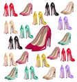 sexy lady shoes pumps pattern set colorful vector image vector image