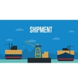 Shipment banner with container ship vector image vector image