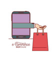 smartphone with hand holding a bag shopping e vector image vector image