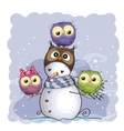 Snowman and Owls vector image