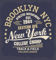 sport t-shirt graphics new york brooklyn athletic vector image vector image