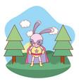 superhero bunny outdoors landscape scenery cartoon vector image