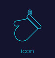 turquoise oven glove line icon isolated on blue vector image