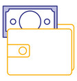 wallet with bill icon vector image