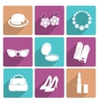 Woman Accessories Flat Icons Set vector image