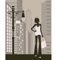 woman in city vector image vector image