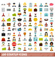 100 startup icons set flat style vector image