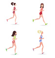 active running girls vector image