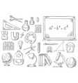 back to school study supplies sketch icons vector image