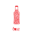 Beer bottle with hearts inside Love card vector image vector image