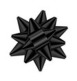 black bow 3d ribbon decor element package shiny vector image