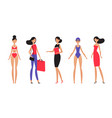 brunette woman in different styles of clothes vector image vector image