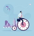 businessman bike on bicycle wheel clocks vector image vector image