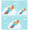 Businessman lying on cloud vector image vector image