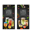 canned food vertical banners vector image vector image