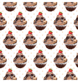 Chocolate cupcake pattern vector image vector image