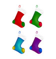 christmas sock icon set symbol design winter vector image