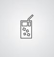 cocktail outline symbol dark on white background vector image vector image
