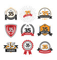 collection retro 35 th years anniversary logo vector image