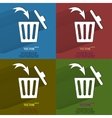 Color set Trash bin Flat modern web button with vector image