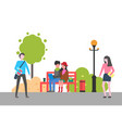 couple sitting on bench in park outdoors activity vector image vector image
