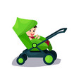 cute baby sitting in a green modern stroller vector image