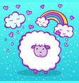 cute doodle sheep on a blue background vector image vector image