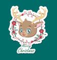cute festive christmas reindeer sticker vector image vector image