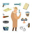 different tools for detective icons in vector image vector image
