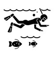 diving in the sea with fish - scuba diving - vector image