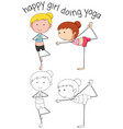 doodle happy girl doing yoga vector image vector image