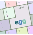egg word on computer pc keyboard key vector image