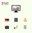 flat icon gain set of calculate payment hand vector image
