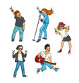 flat rock music teen people set vector image vector image