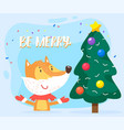 fox stand near christmas fir tree forest animal vector image