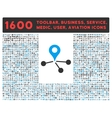 Geo Network Icon with Large Pictogram Collection vector image vector image