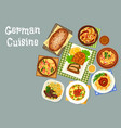 german cuisine meat and fish dinner dishes icon vector image vector image