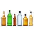 glass bottles alcohol drinks 3d mockups vector image