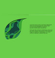 green horizontal banner with 3d tree leaf cut out vector image