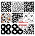 halloween seamless decoration patterns set vector image