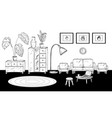 hand drawn room interior sketch black and white vector image
