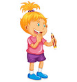 happy girl holding pencil vector image