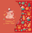 happy new year card with cute pig vector image