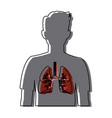 human silhouette respiratory system body anatomy vector image
