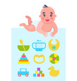 lying on floor newborn with toys and dishware vector image