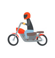 Man in helmet riding a motorcycle cartoon