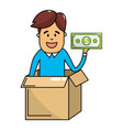 man saving money vector image