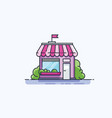 market front facade flat line icon vector image